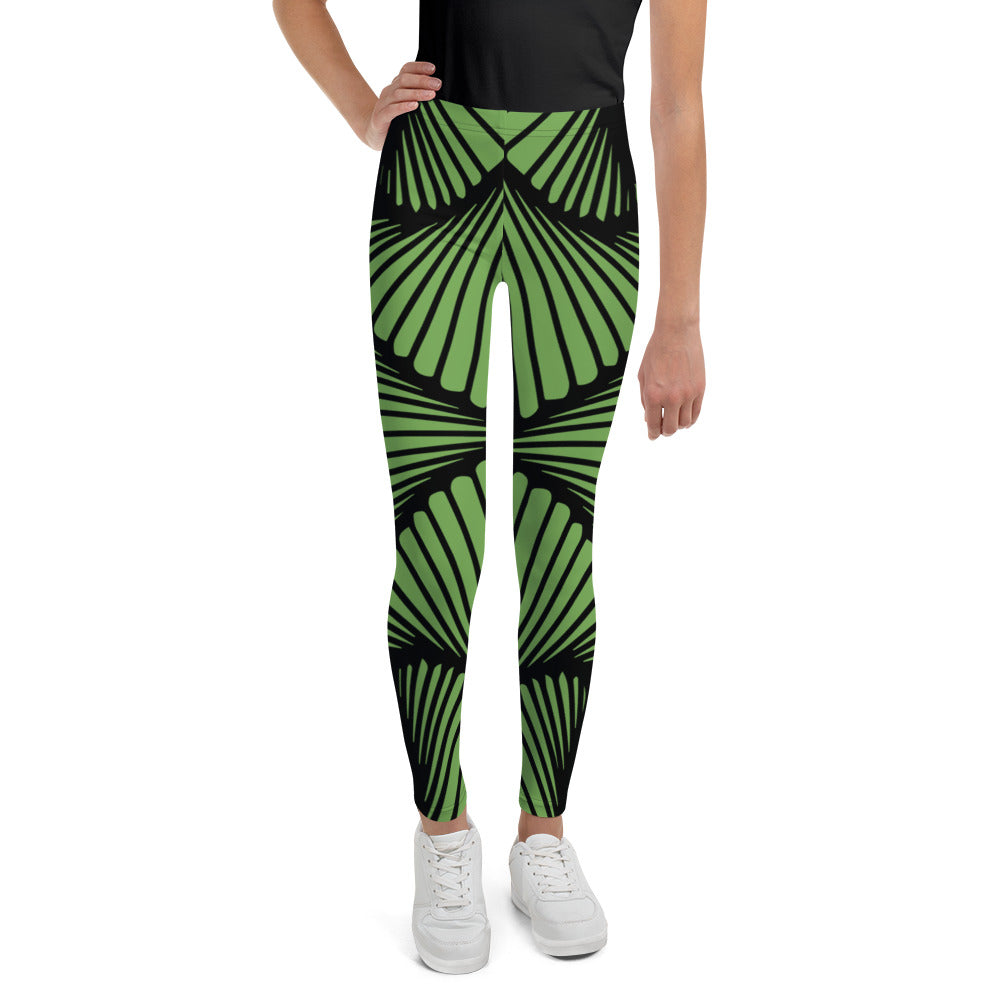 Green Deco Geometric Youth Leggings (Size 8-20)