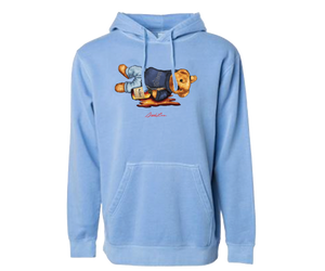 Shaded Bear Pigment Hoodie (Light Blue)