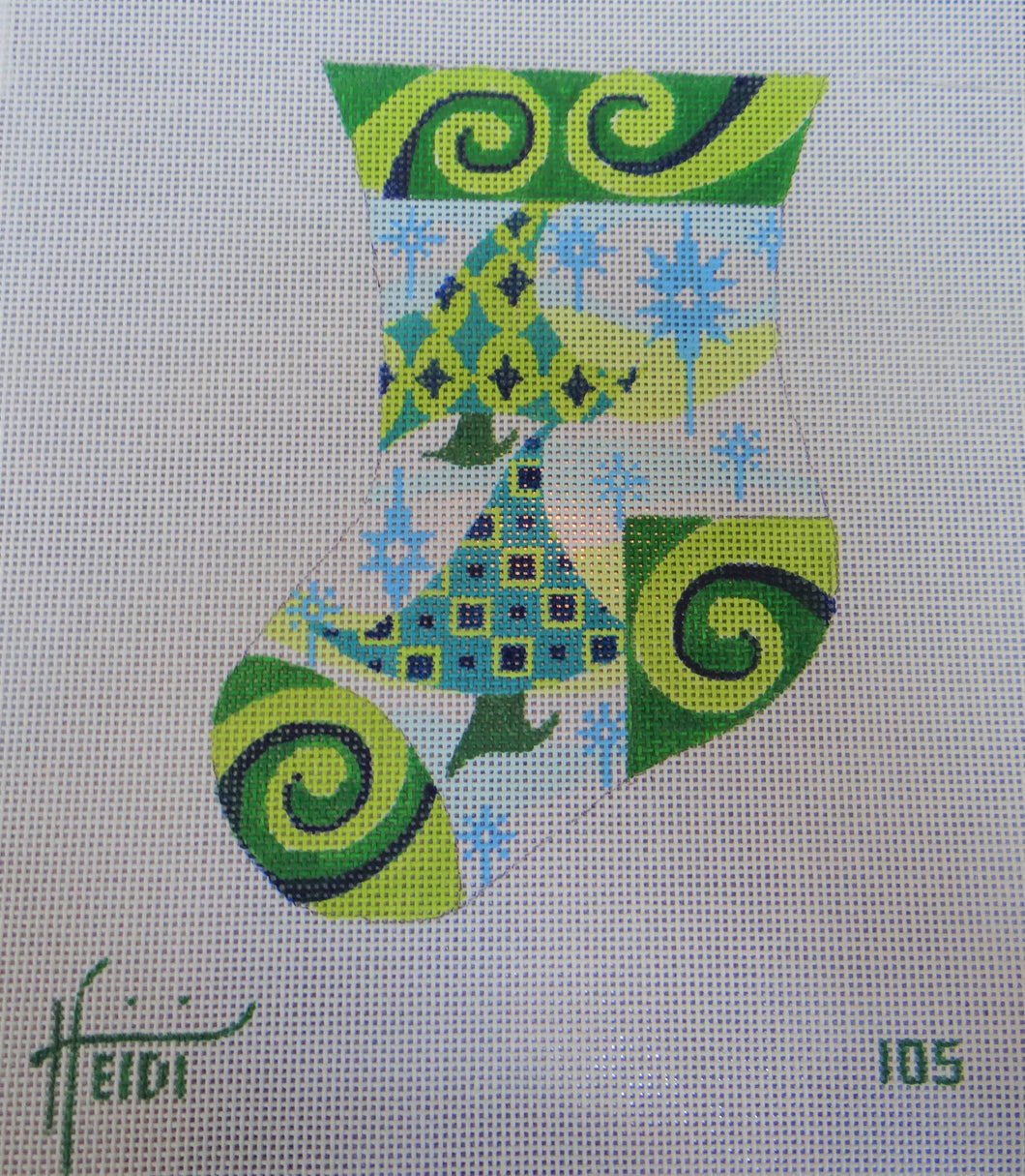 105 - Green Wavy Trees Stocking