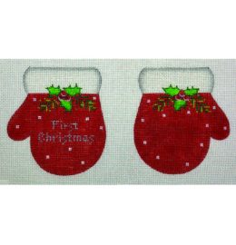 MT01-B First Christmas Mittens Red