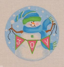 Snowman w/Joy Banner Blue/Green