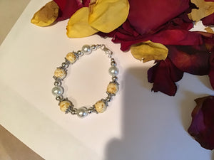 White clay Yellow rose bracelet