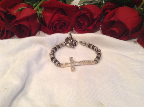 Silver Bended Cross Bracelet