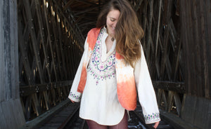 Hemp Silk Reversible Vest in Madder