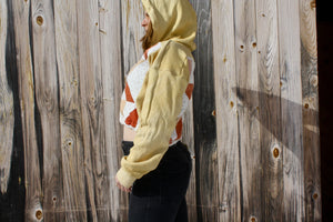 Double Quilted Crop Hoodie in Plant Dye