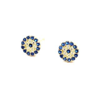 Dainty Blue Evil Eye Earrings