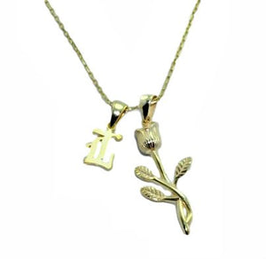 Rose & Old English Initial Necklace