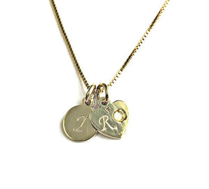 Circle & Heart Initial Pendant Necklace