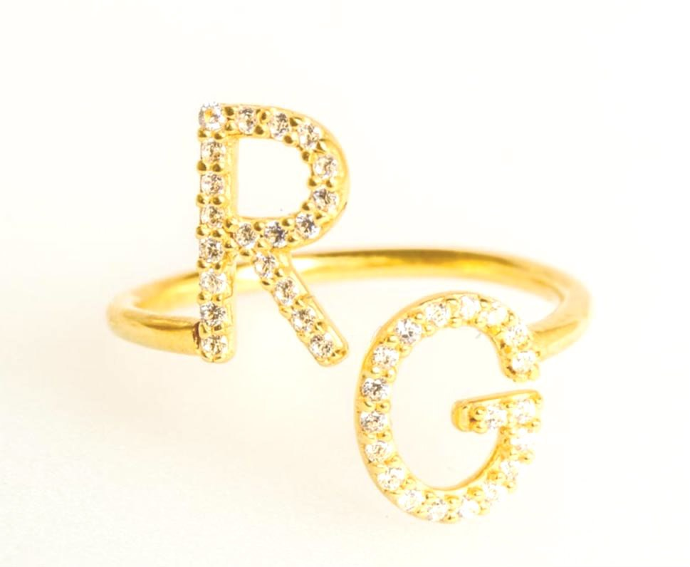 35fbb2a984128 Two Initial CZ Ring