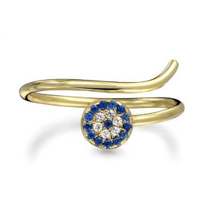 Blue CZ Eye Ring