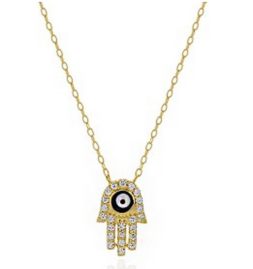 Black CZ Eye Hamsa Necklace