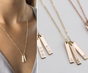 Dainty Engraved Vertical Bar Necklace