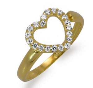 CZ Adjustable Heart Ring