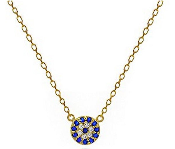 Dainty Blue CZ Eye Necklace