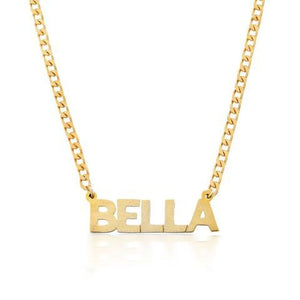 Block Curb Chain Name Necklace