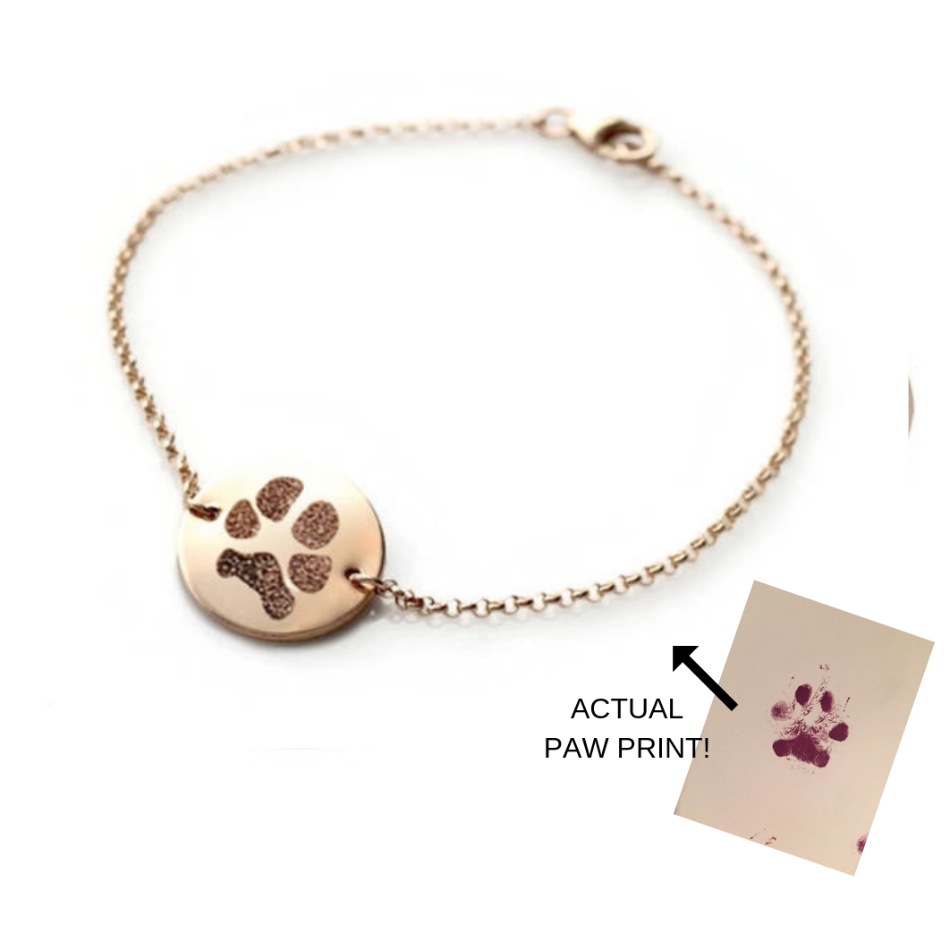 Actual Paw Print Chain/Disc Bracelet