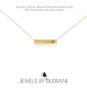 Paw Print Bar Necklace - Standard Paw