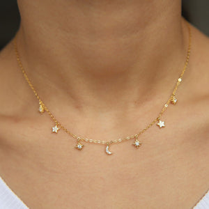 CZ Moon and Star Choker