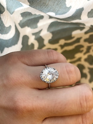 Oval CZ Halo Engagement Ring