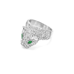 CZ Green Eyed Animal Ring
