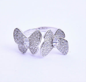 CZ Double Butterfly Ring