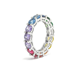 Large CZ Rainbow Eternity Ring