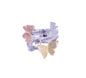 CZ Triple Butterfly Ring