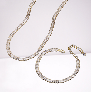 Emerlad Baguette Chain Necklace