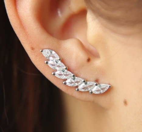 Crystal Collection Tear Drop Ear Climber