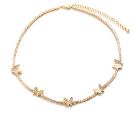 CZ Multi-Butterfly Choker Necklace