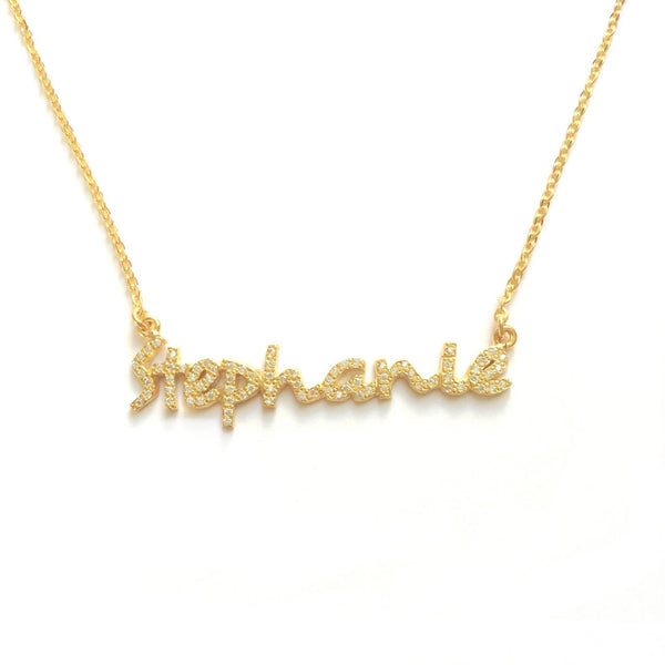 Script Crystal Name Necklace