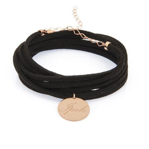 Leather Wrap Choker with Circle Pendant