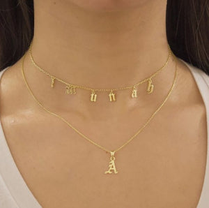 Drop Necklace - Old English Font