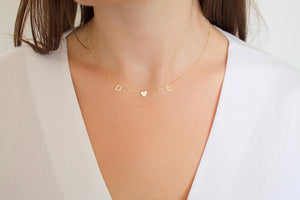Spaced Initial Heart Necklace