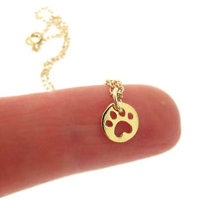 Cut-Out Paw Print  Necklace