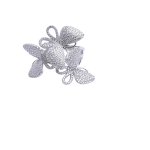 CZ Triple Butterfly Ring (Large)