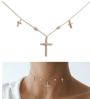 Dainty Cross & CZ Necklace