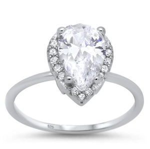 Pear Shape Halo CZ Ring