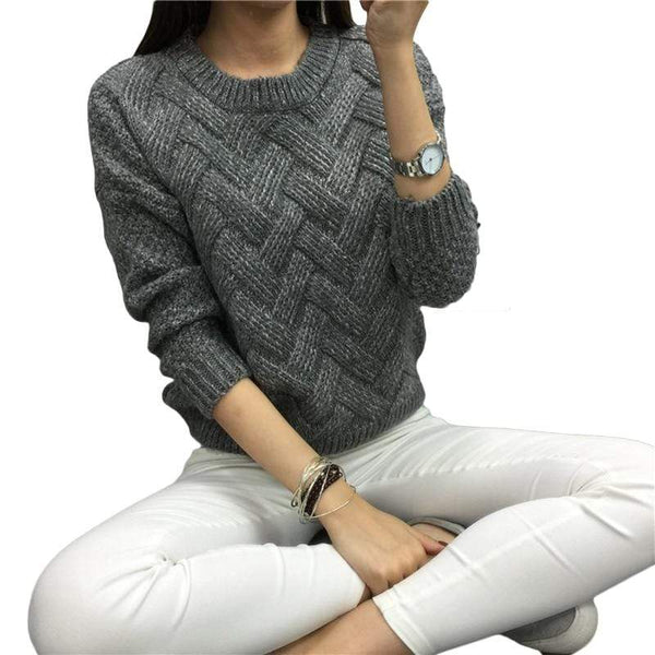 Women's Classic Long-Sleeve Knitted Sweater - Hils&Ties Hils & Ties Men and Women Clothing