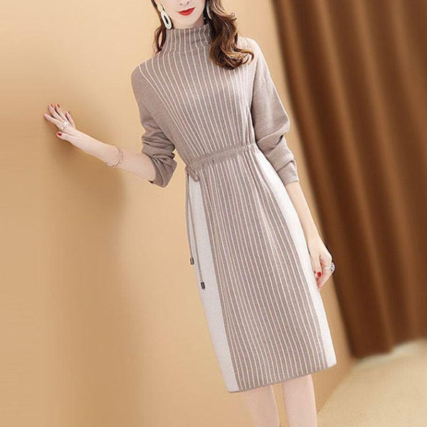 Women's Striped Long-Sleeve Tie-Side Dress - Hils&Ties Hils & Ties Men and Women Clothing