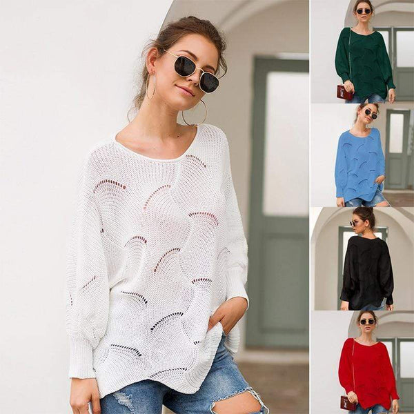 Women's Hollow Long-Sleeve Sweater - Hils&Ties Hils & Ties Men and Women Clothing
