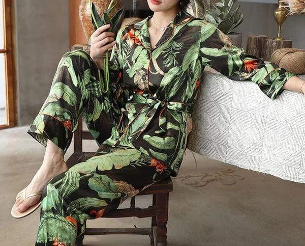 Women's Tropical Print Pajama Set - Hils&Ties Hils & Ties Men and Women Clothing