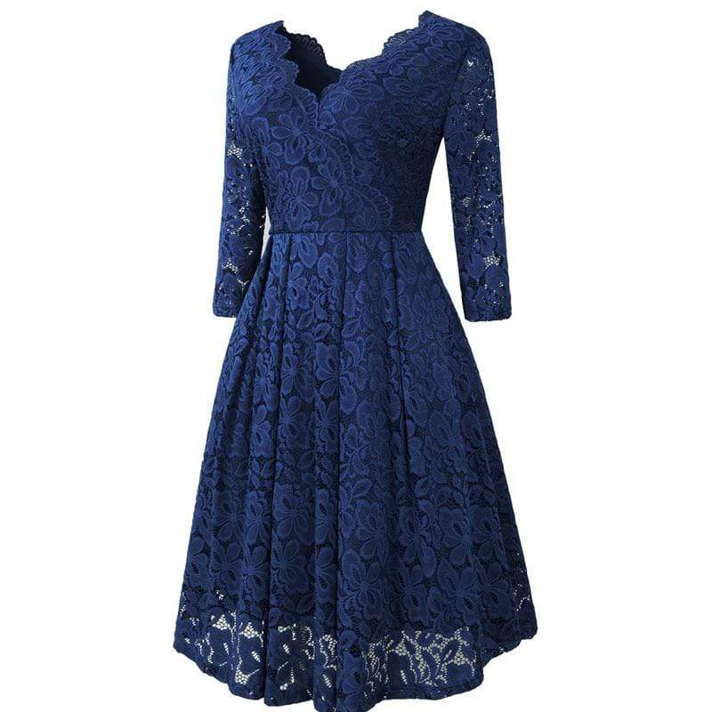 Women's Floral Lace Long-Sleeve A-Line Dress - Hils&Ties Hils & Ties Men and Women Clothing