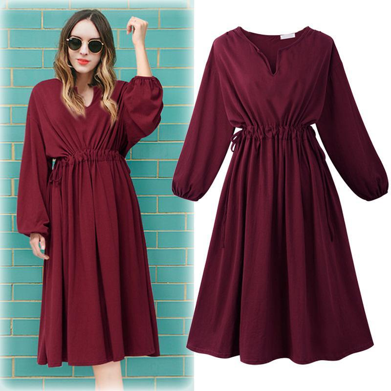 Women's Solid Long-Sleeve Midi Dress - Hils&Ties Hils & Ties Men and Women Clothing