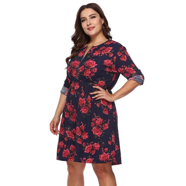 Women's Floral Print Half-Sleeve Dress - Hils&Ties Hils & Ties Men and Women Clothing