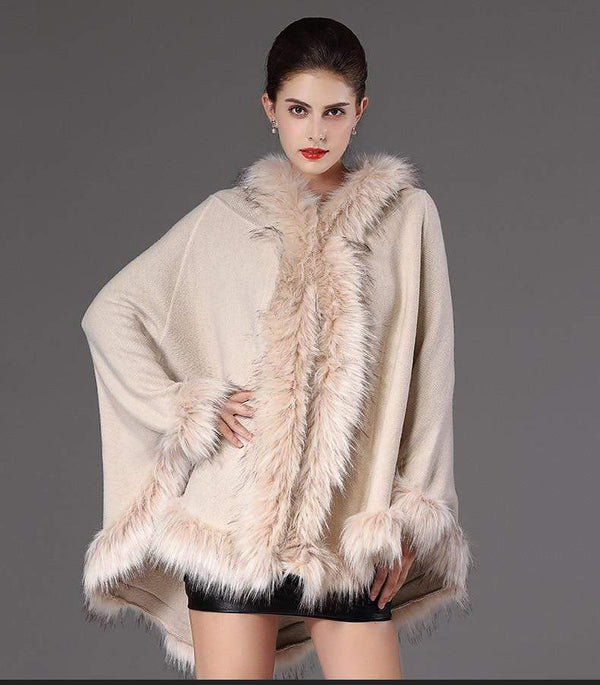 Women's Fur Hooded Cape - Hils&Ties Hils & Ties Men and Women Clothing