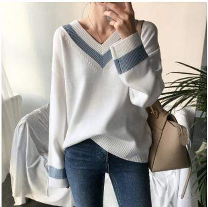 Women's Striped Long-Sleeve Knitted Sweater - Hils&Ties Hils & Ties Men and Women Clothing