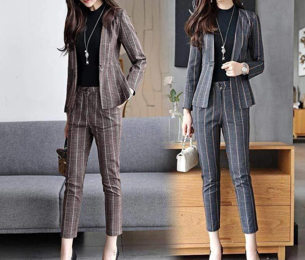 Hils&Ties formal Women's Classic Suit Jacket And Pencil Pants Set