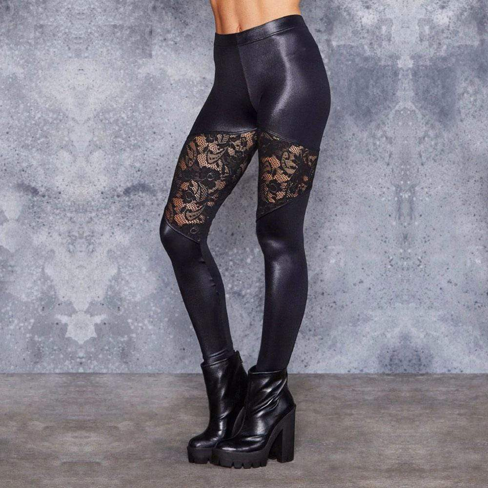 Women's Floral Faux-Leather High-Waist Leggings - Hils&Ties Hils & Ties Men and Women Clothing