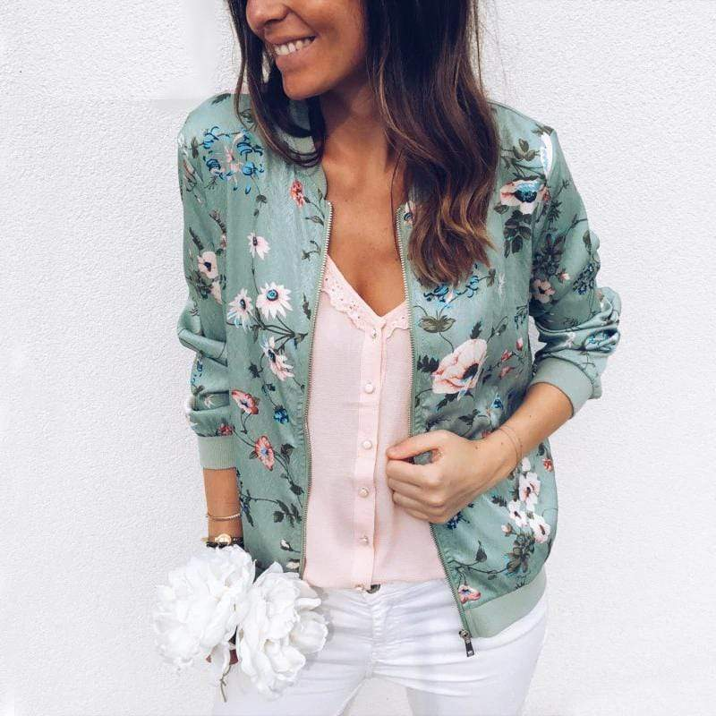 Women's Floral Print Zip-Up Jacket - Hils&Ties Hils & Ties Men and Women Clothing